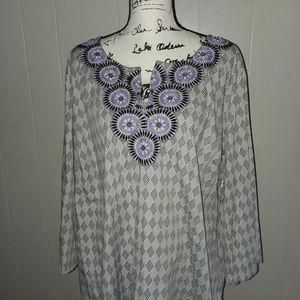 Dana Buchman Women's Embroidered V-Neck Tunic